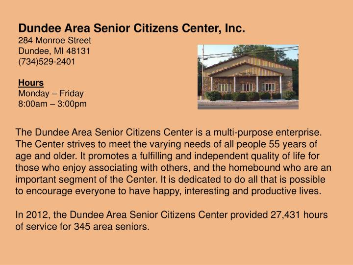 Dundee Area Senior Citizens Center, Inc.