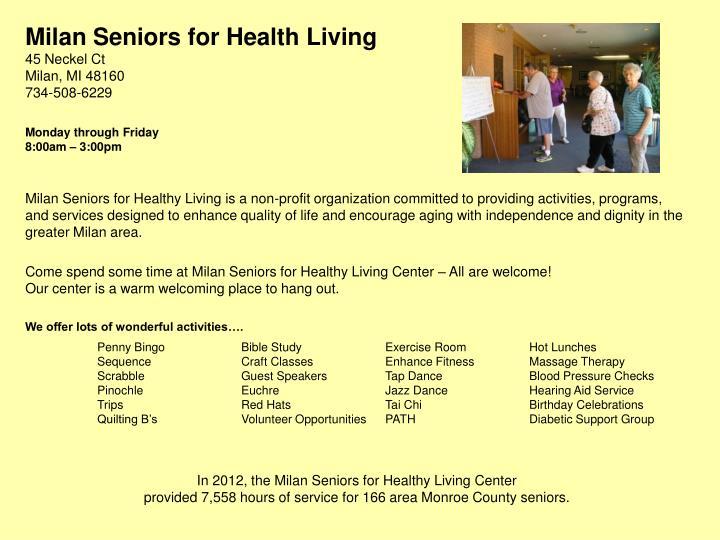 Milan Seniors for Health Living