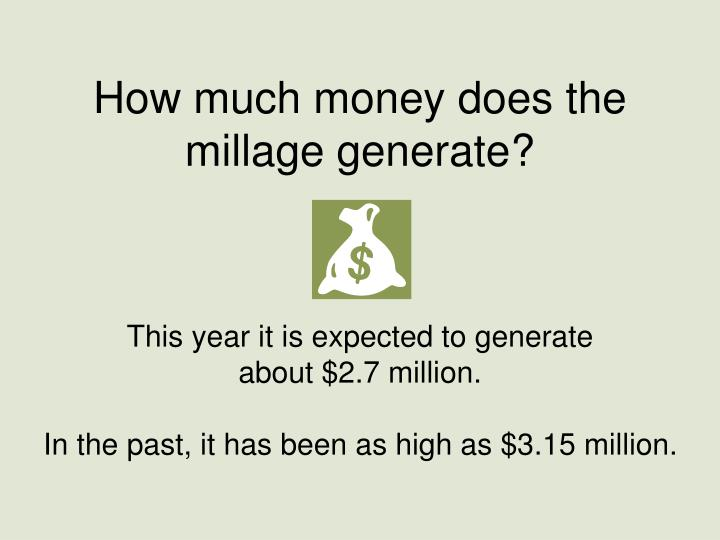 How much money does the millage generate?
