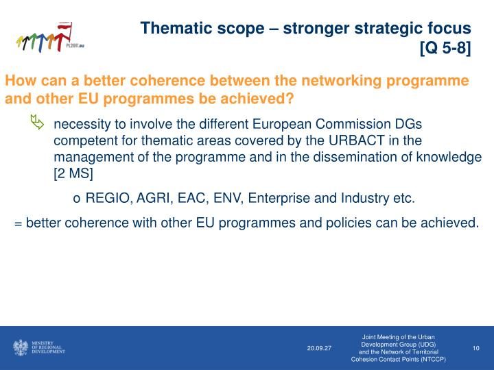 Thematic scope – stronger strategic focus