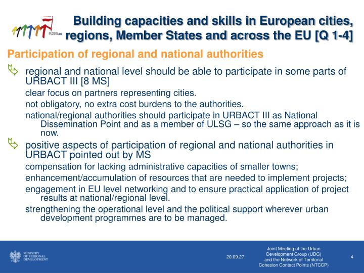 Building capacities and skills in European cities, regions, Member States and across