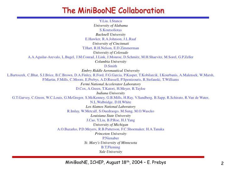 The MiniBooNE Collaboration
