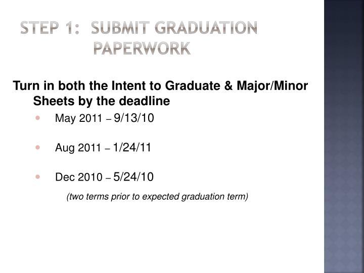 Step 1:  Submit Graduation Paperwork