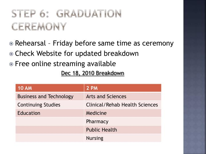 STEP 6:  Graduation Ceremony
