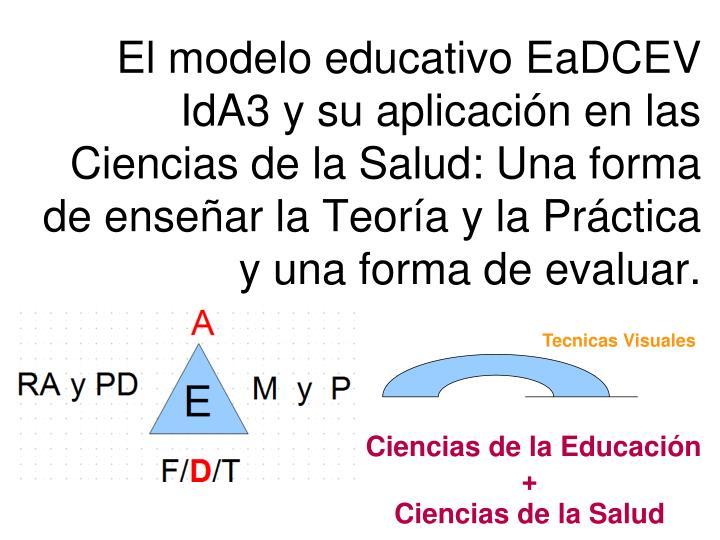 El modelo educativo EaDCEV IdA3 y su aplicación en las Ciencias de la Salud: Una forma de enseñar la Teoría y la Práctica y una forma de evaluar.