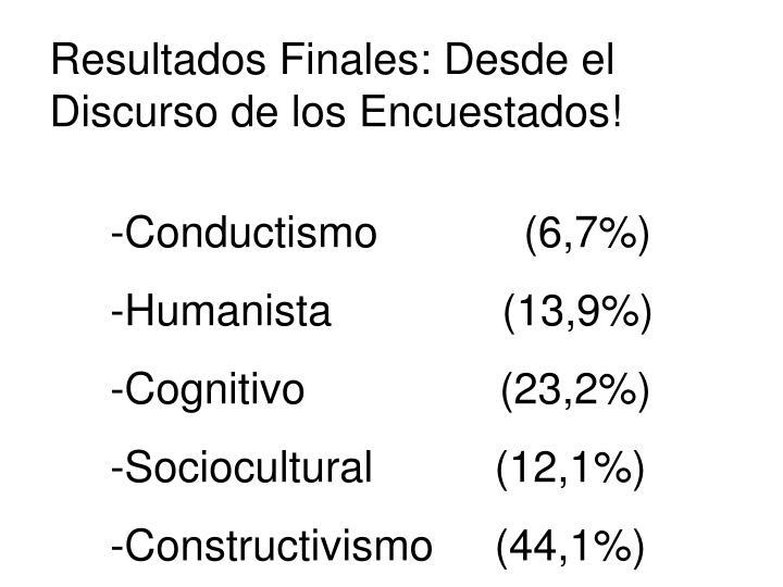 Resultados Finales: Desde el Discurso de los Encuestados!