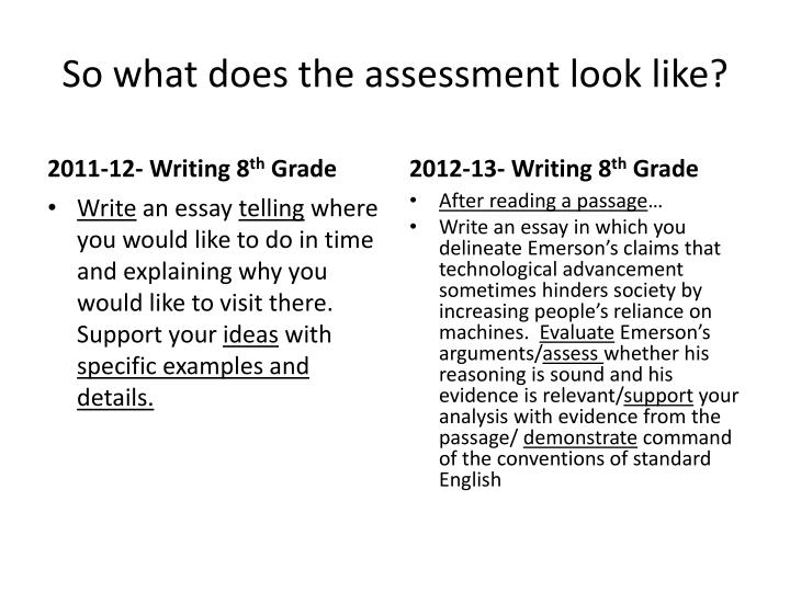So what does the assessment look like?