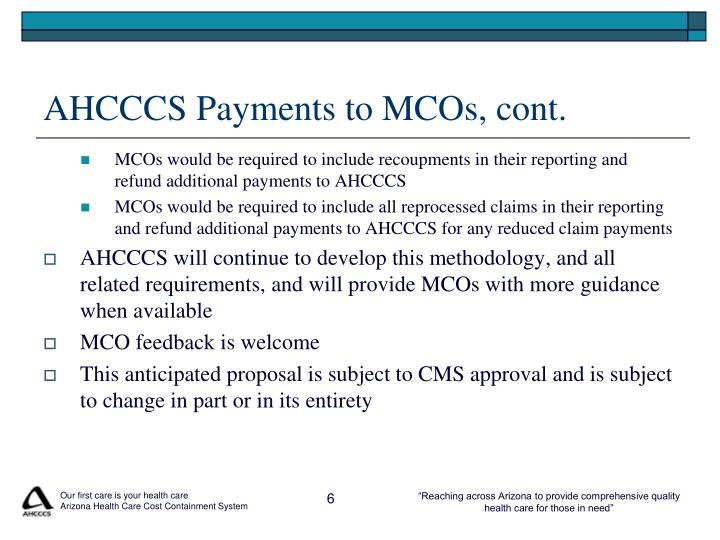 AHCCCS Payments to MCOs, cont.