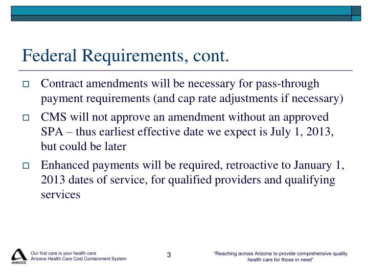 Federal Requirements, cont.