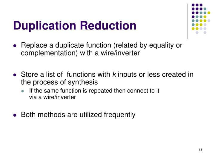 Duplication Reduction