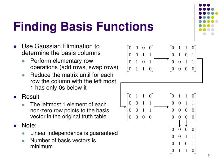 Use Gaussian Elimination to determine the basis columns