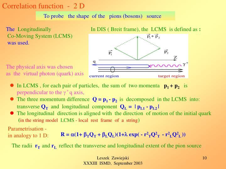 Correlation function  -  2 D