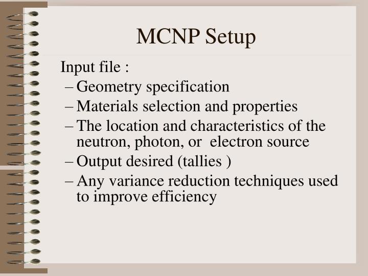 MCNP Setup