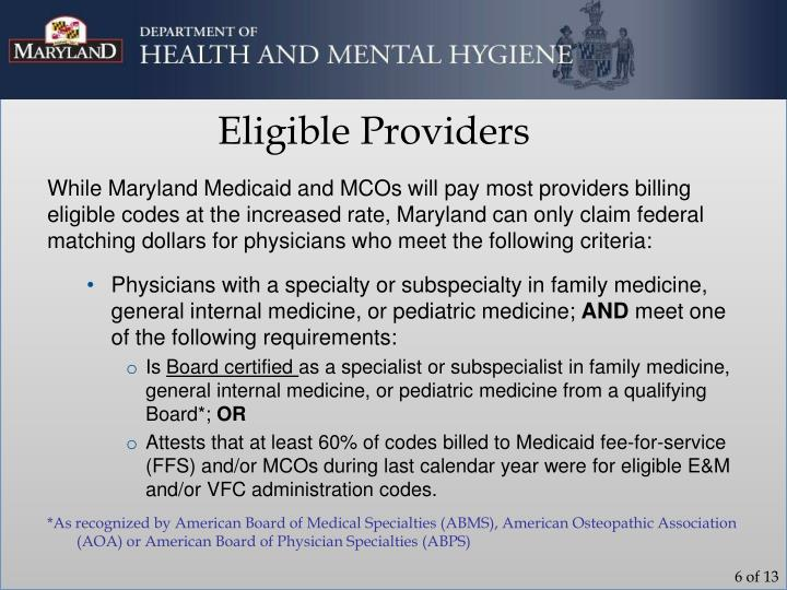 Eligible Providers