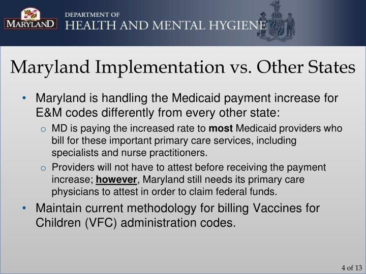 Maryland Implementation vs. Other States