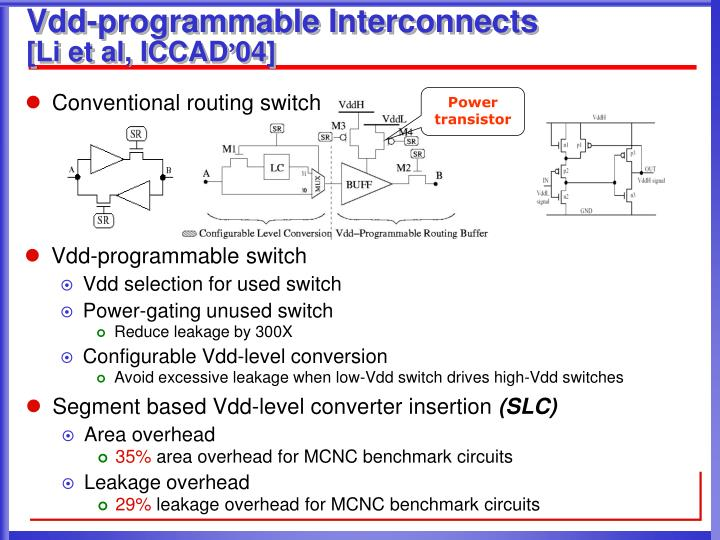 Vdd-programmable Interconnects