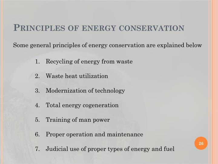 Principles of energy conservation