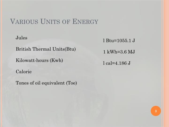 Various units of energy
