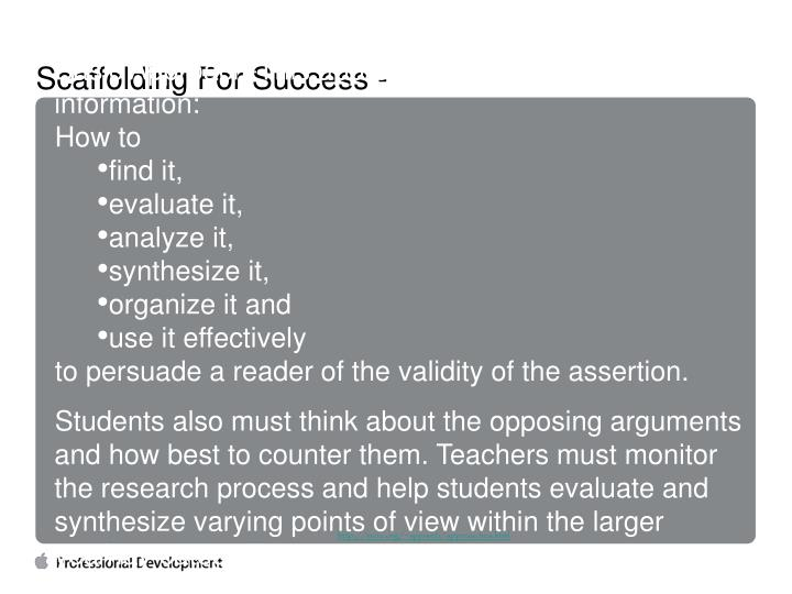 Scaffolding For Success -
