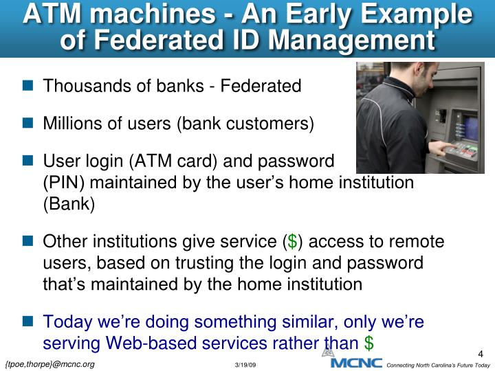 ATM machines - An Early Example