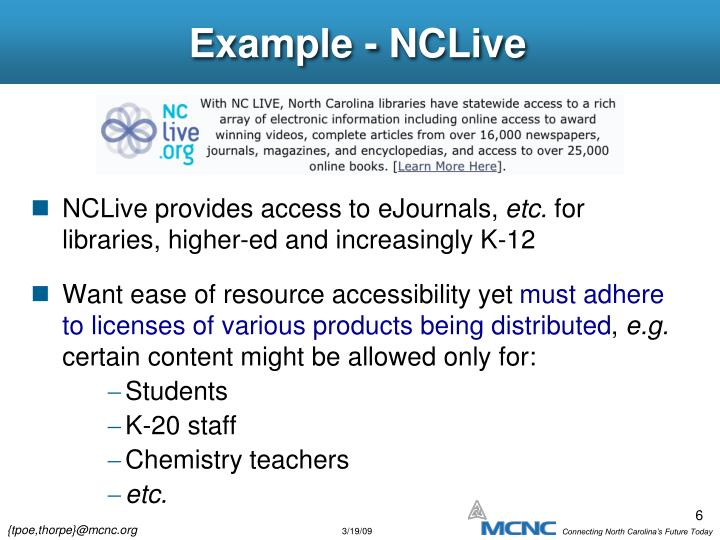 Example - NCLive