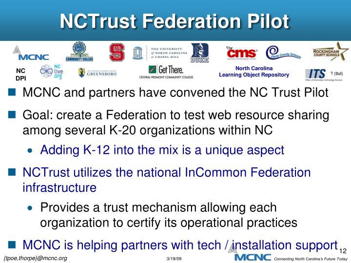 NCTrust Federation Pilot