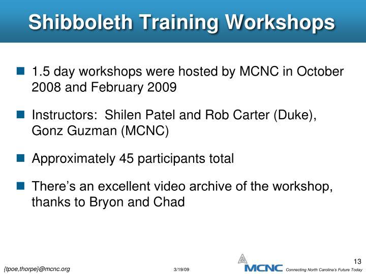 Shibboleth Training Workshops