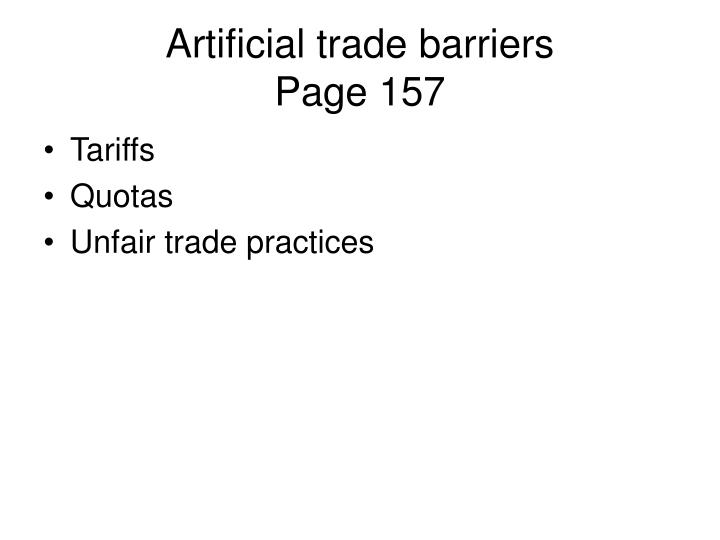 Artificial trade barriers