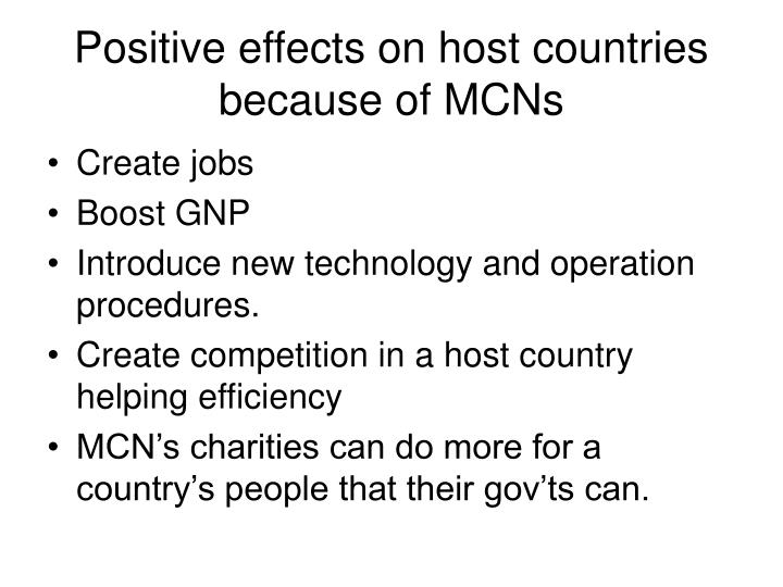 Positive effects on host countries because of MCNs
