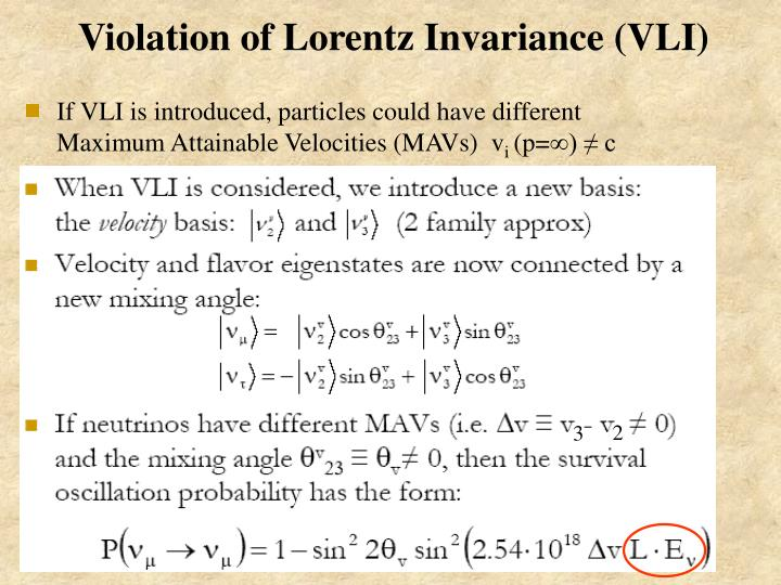 Violation of Lorentz Invariance (VLI)