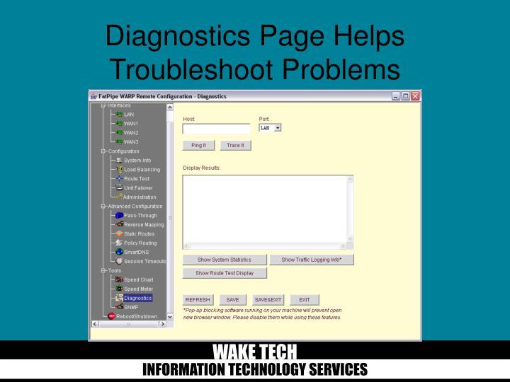 Diagnostics Page Helps Troubleshoot Problems