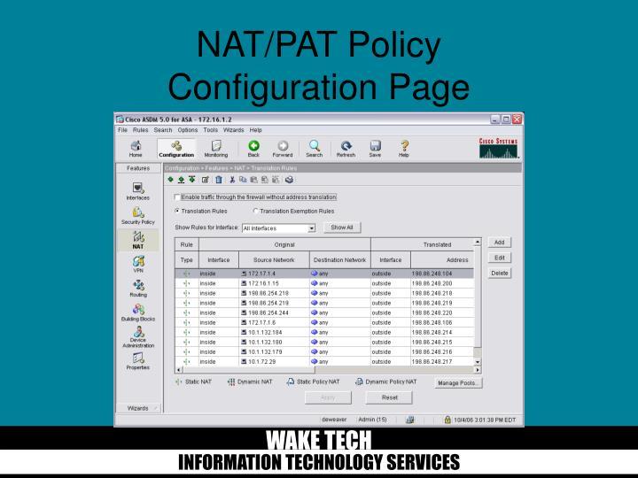 NAT/PAT Policy