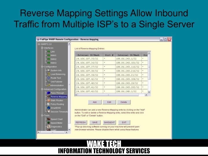 Reverse Mapping Settings Allow Inbound Traffic from Multiple ISP's to a Single Server