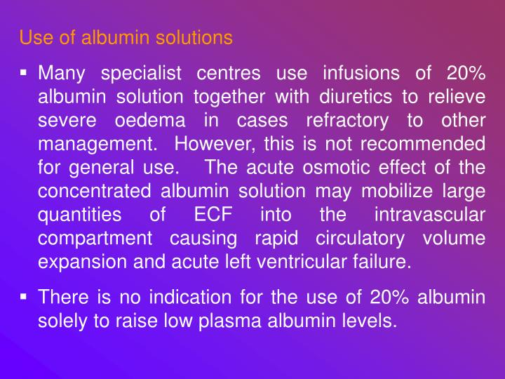 Use of albumin solutions
