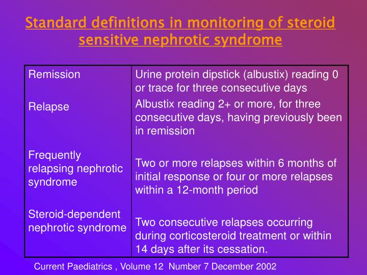 Standard definitions in monitoring of steroid sensitive nephrotic syndrome