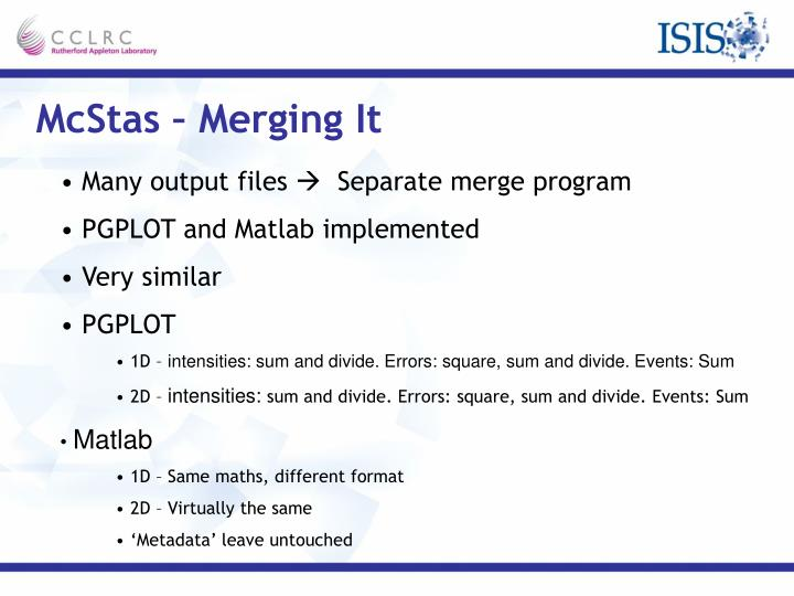 McStas – Merging It