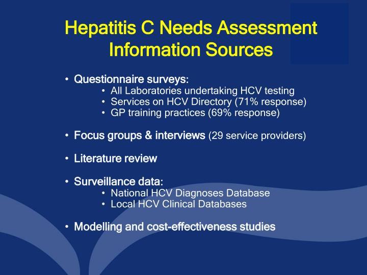 Hepatitis C Needs Assessment Information Sources