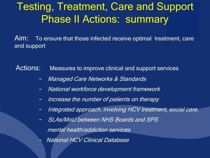 Testing, Treatment, Care and Support Phase II Actions:  summary