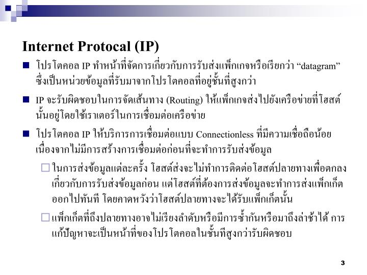 Internet protocal ip