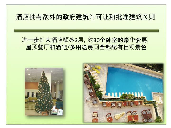 酒店拥有额外的政府建筑许可证和批准建筑图则