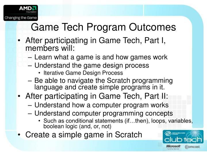 Game Tech Program Outcomes
