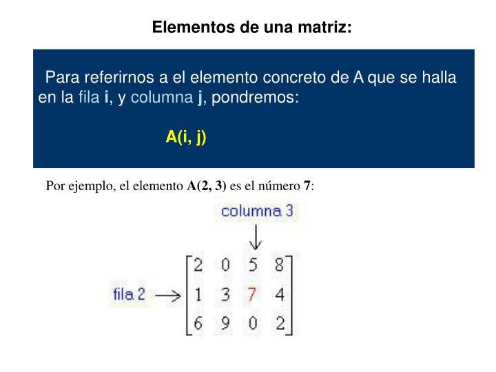 Elementos de una matriz: