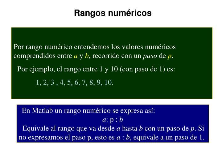 Rangos numéricos