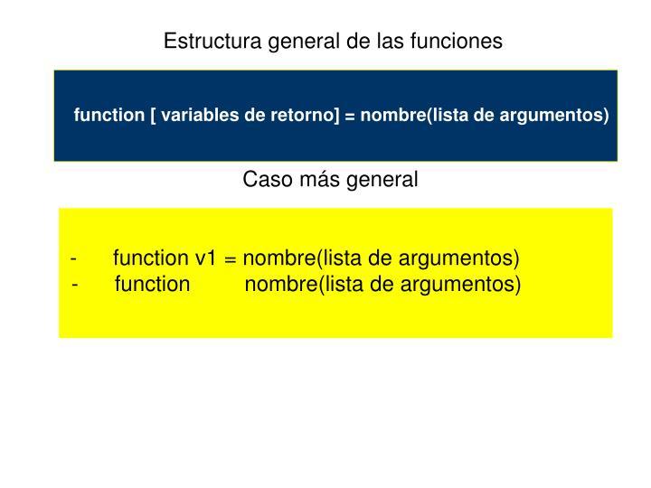 Estructura general de las funciones