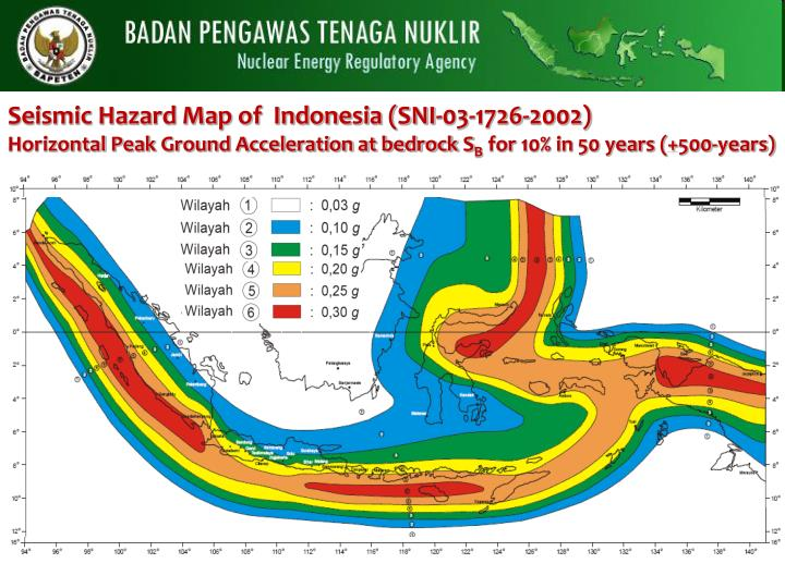Seismic Hazard Map of  Indonesia (SNI-03-1726-2002)