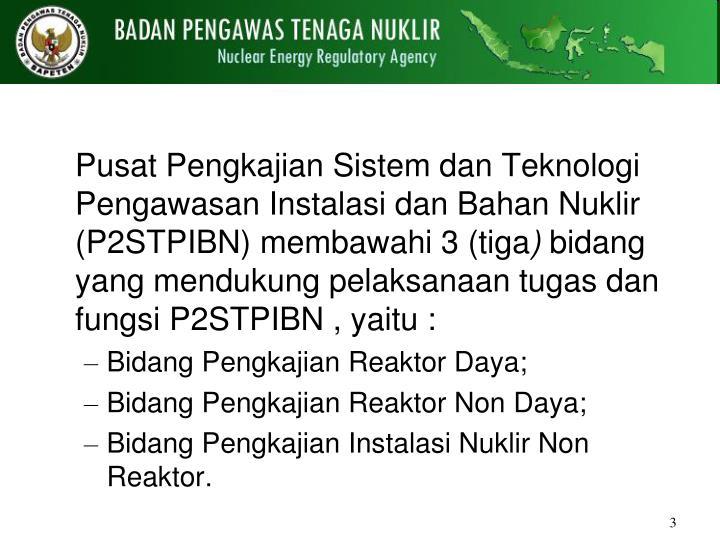 Pusat Pengkajian Sistem dan Teknologi Pengawasan Instalasi dan Bahan Nuklir  (P2STPIBN) membawahi 3 (tiga