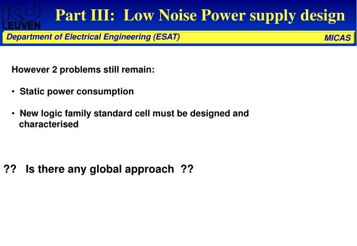 Part III:  Low Noise Power supply design