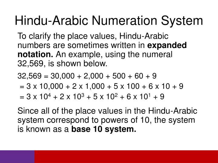 Hindu-Arabic Numeration System