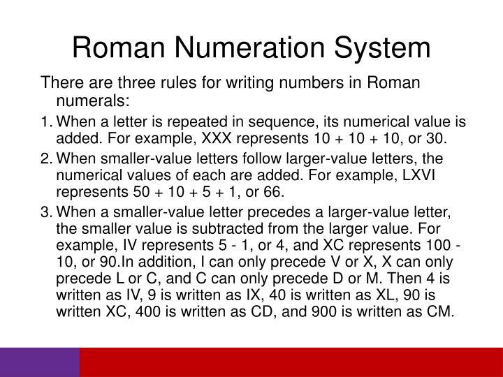 Roman Numeration System
