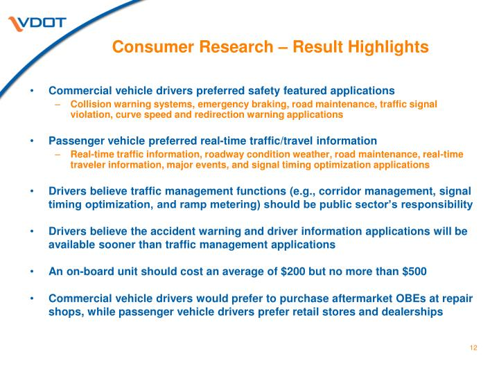 Consumer Research – Result Highlights